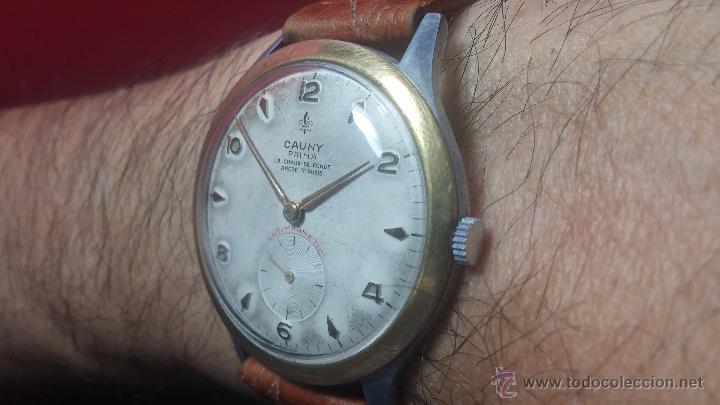 Relojes de pulsera: RELOJ Suizo CAUNY PRIMA, LA CHAUX DE FONS, escaso CAL. F-399, ancre 17 rubis, grande, Antimagnetic - Foto 6 - 54420927