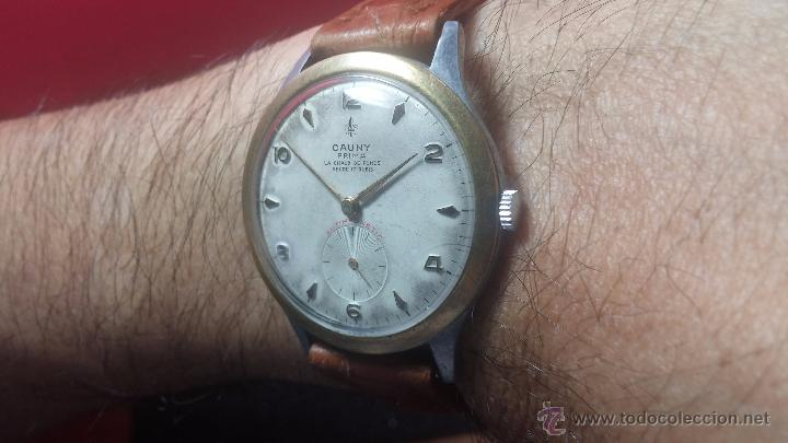 Relojes de pulsera: RELOJ Suizo CAUNY PRIMA, LA CHAUX DE FONS, escaso CAL. F-399, ancre 17 rubis, grande, Antimagnetic - Foto 12 - 54420927