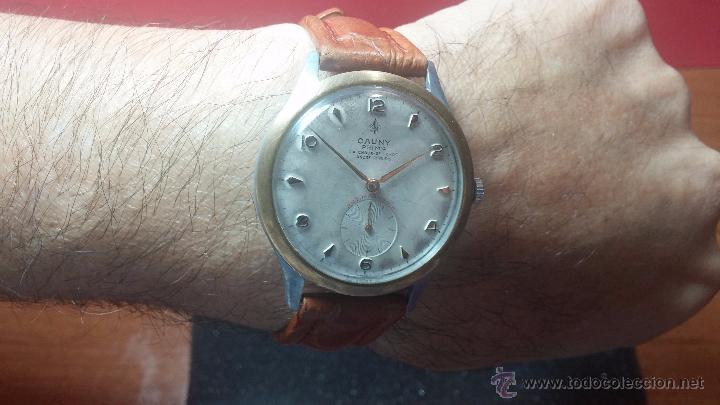 Relojes de pulsera: RELOJ Suizo CAUNY PRIMA, LA CHAUX DE FONS, escaso CAL. F-399, ancre 17 rubis, grande, Antimagnetic - Foto 17 - 54420927
