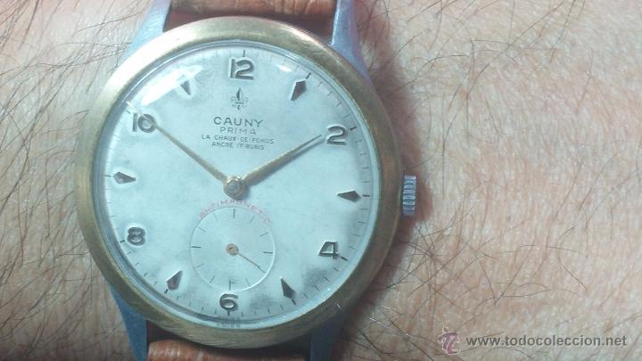 Relojes de pulsera: RELOJ Suizo CAUNY PRIMA, LA CHAUX DE FONS, escaso CAL. F-399, ancre 17 rubis, grande, Antimagnetic - Foto 24 - 54420927