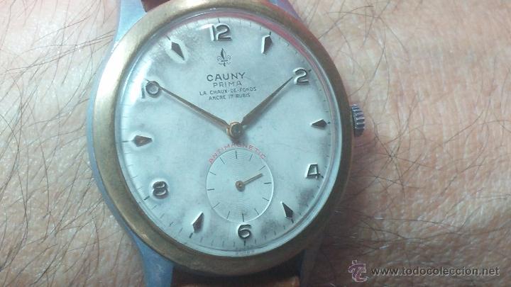 Relojes de pulsera: RELOJ Suizo CAUNY PRIMA, LA CHAUX DE FONS, escaso CAL. F-399, ancre 17 rubis, grande, Antimagnetic - Foto 26 - 54420927