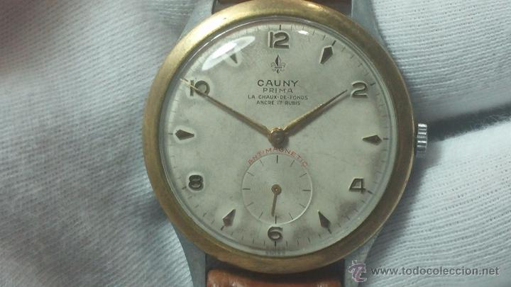 Relojes de pulsera: RELOJ Suizo CAUNY PRIMA, LA CHAUX DE FONS, escaso CAL. F-399, ancre 17 rubis, grande, Antimagnetic - Foto 27 - 54420927