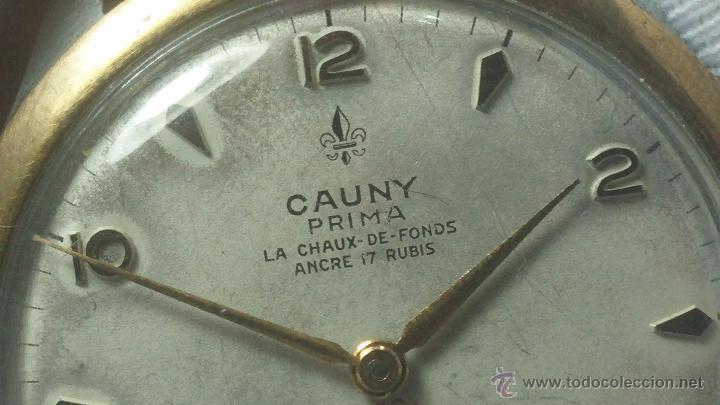 Relojes de pulsera: RELOJ Suizo CAUNY PRIMA, LA CHAUX DE FONS, escaso CAL. F-399, ancre 17 rubis, grande, Antimagnetic - Foto 31 - 54420927