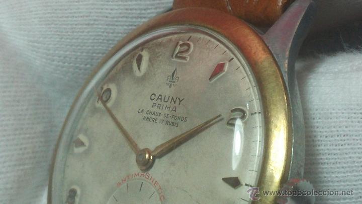 Relojes de pulsera: RELOJ Suizo CAUNY PRIMA, LA CHAUX DE FONS, escaso CAL. F-399, ancre 17 rubis, grande, Antimagnetic - Foto 32 - 54420927