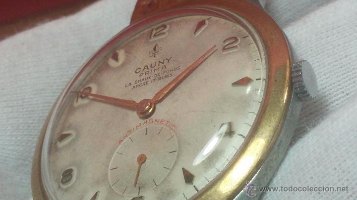 Relojes de pulsera: RELOJ Suizo CAUNY PRIMA, LA CHAUX DE FONS, escaso CAL. F-399, ancre 17 rubis, grande, Antimagnetic - Foto 33 - 54420927