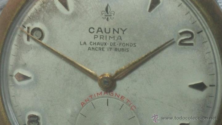 Relojes de pulsera: RELOJ Suizo CAUNY PRIMA, LA CHAUX DE FONS, escaso CAL. F-399, ancre 17 rubis, grande, Antimagnetic - Foto 36 - 54420927