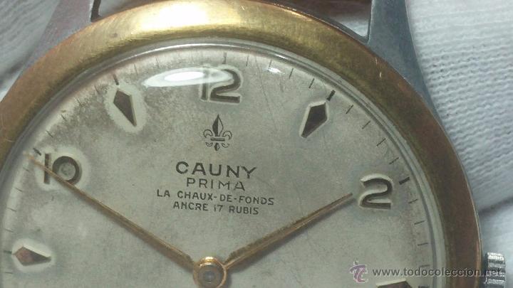 Relojes de pulsera: RELOJ Suizo CAUNY PRIMA, LA CHAUX DE FONS, escaso CAL. F-399, ancre 17 rubis, grande, Antimagnetic - Foto 37 - 54420927