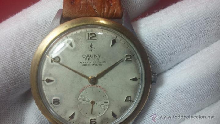 Relojes de pulsera: RELOJ Suizo CAUNY PRIMA, LA CHAUX DE FONS, escaso CAL. F-399, ancre 17 rubis, grande, Antimagnetic - Foto 39 - 54420927
