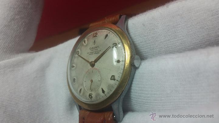 Relojes de pulsera: RELOJ Suizo CAUNY PRIMA, LA CHAUX DE FONS, escaso CAL. F-399, ancre 17 rubis, grande, Antimagnetic - Foto 42 - 54420927
