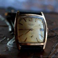 Relojes de pulsera: REJOJ DE PULSERA VINTAGE CAUNY PRIMA, CAJA CUADRADA, PLACA DE ORO 10 MK.. Lote 54986422