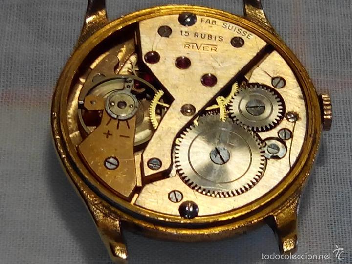 Relojes de pulsera: ANTIGUO RIVER SUIZO - AÑOS 50. FUNCIONANDO. CARGA MANUAL. TODO ORIGINAL. 38 MM. FOTOS INTER/EXTERIOR - Foto 6 - 56498852