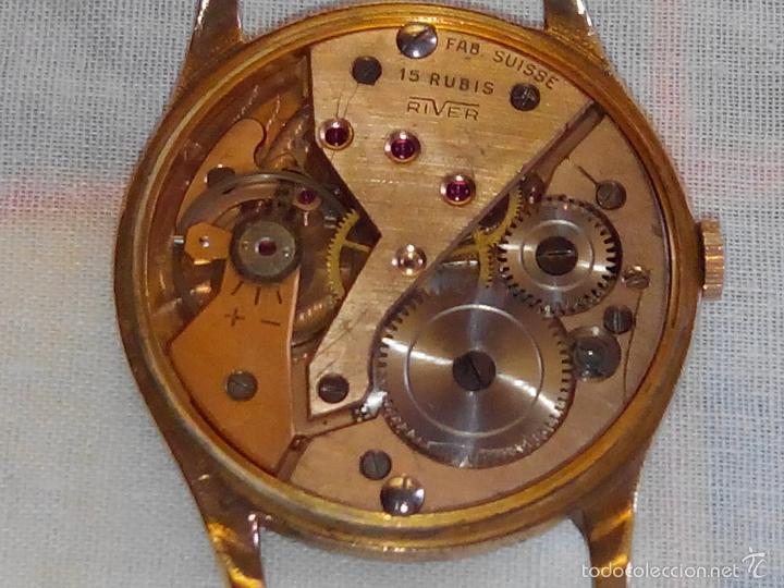 Relojes de pulsera: ANTIGUO RIVER SUIZO - AÑOS 50. FUNCIONANDO. CARGA MANUAL. TODO ORIGINAL. 38 MM. FOTOS INTER/EXTERIOR - Foto 7 - 56498852