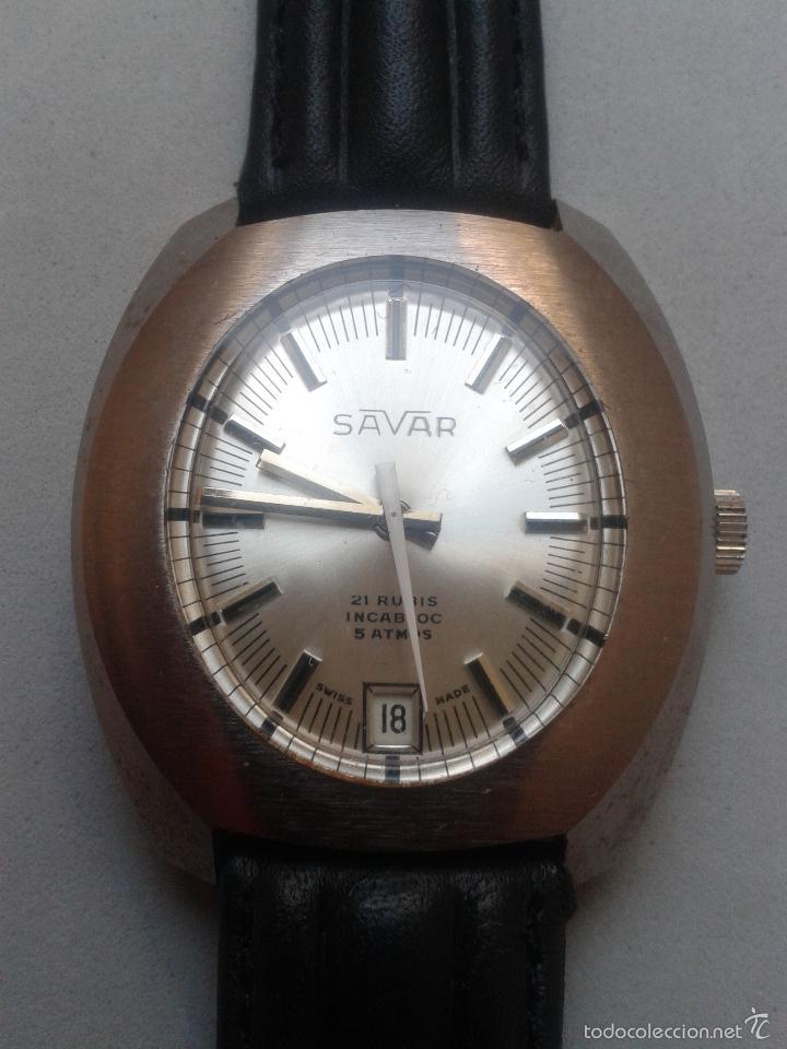 RELOJ VINTAGE DE CABALLERO. MARCA SAVAR. INCABLOC. FUNCIONANDO. (Relojes - Pulsera Carga Manual)