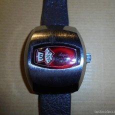 Relojes de pulsera: ANTIGUO RELOJ CARGA MANUAL - AÑOS 60 MARCA ANJAX CAJA DE ACERO ESFERA ROJA 4,5X4 CM. FUNCIONANDO .. Lote 57308843