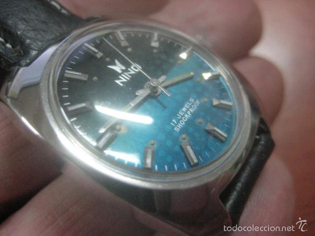 Relojes de pulsera: PRECIOSO RELOJ DE PULSERA MARCA NINO, CORREA DE CUERO, 17 JOYAS, ESFERA BI-COLOR, AÑOS 50, FUNCIONA - Foto 7 - 60091207
