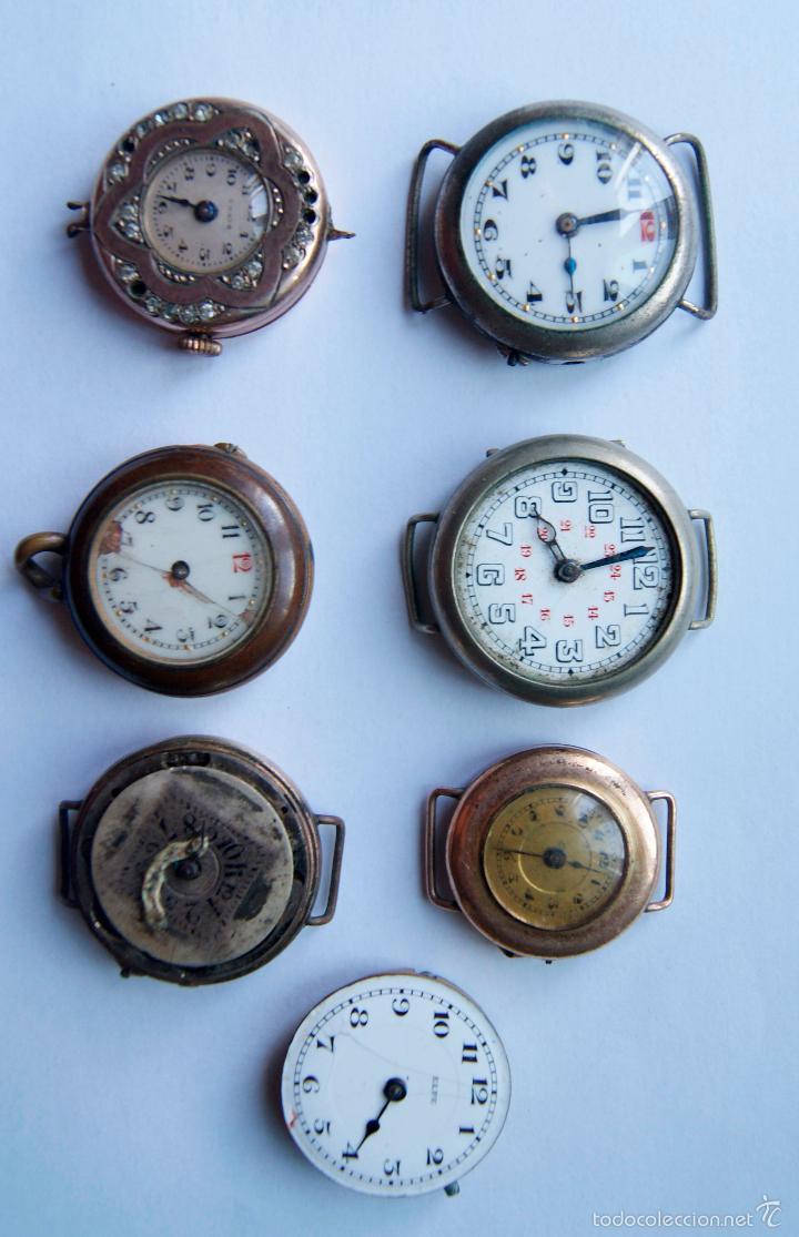 LOTE DE 6 RELOJES Y 1 CALIBRE AÑOS 20/30 M12 (Relojes - Pulsera Carga Manual)