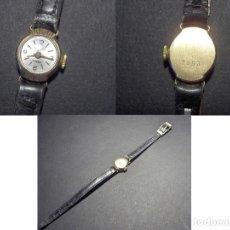 Relojes de pulsera: MUJER RELOJ ORO DE 18 KTS SEÑORA FLAMOR. CORREA PIEL MECANICO PERFECTO CONTRASTES. Lote 63819823