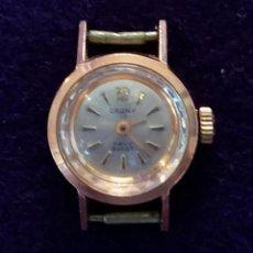 Relojes de pulsera: RELOJ DE SEÑORA CAUNY DE CARGA MANUAL. FABRICACION SUIZA. FUNCIONANDO. CAJA CHAPADA EN ORO 10 MICRAS. Lote 68581045