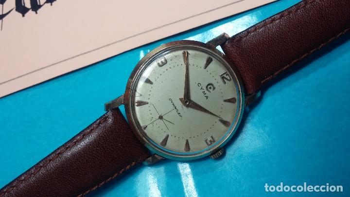 Relojes de pulsera: Botito reloj de cuerda Cyma, antiquisimo, de hombre, funcionando, grande, hermoso, lindo, chapado - Foto 3 - 68612953