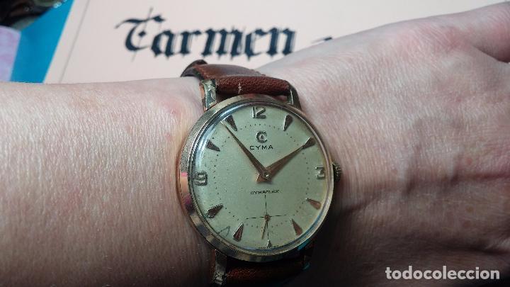 Relojes de pulsera: Botito reloj de cuerda Cyma, antiquisimo, de hombre, funcionando, grande, hermoso, lindo, chapado - Foto 4 - 68612953