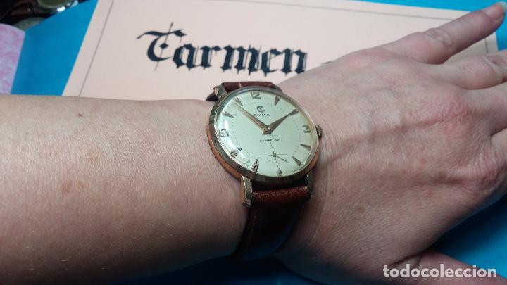Relojes de pulsera: Botito reloj de cuerda Cyma, antiquisimo, de hombre, funcionando, grande, hermoso, lindo, chapado - Foto 6 - 68612953