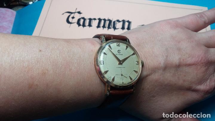 Relojes de pulsera: Botito reloj de cuerda Cyma, antiquisimo, de hombre, funcionando, grande, hermoso, lindo, chapado - Foto 7 - 68612953