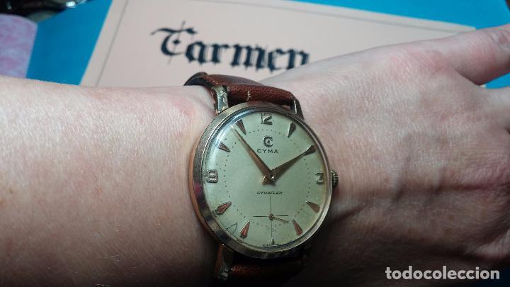 Relojes de pulsera: Botito reloj de cuerda Cyma, antiquisimo, de hombre, funcionando, grande, hermoso, lindo, chapado - Foto 8 - 68612953