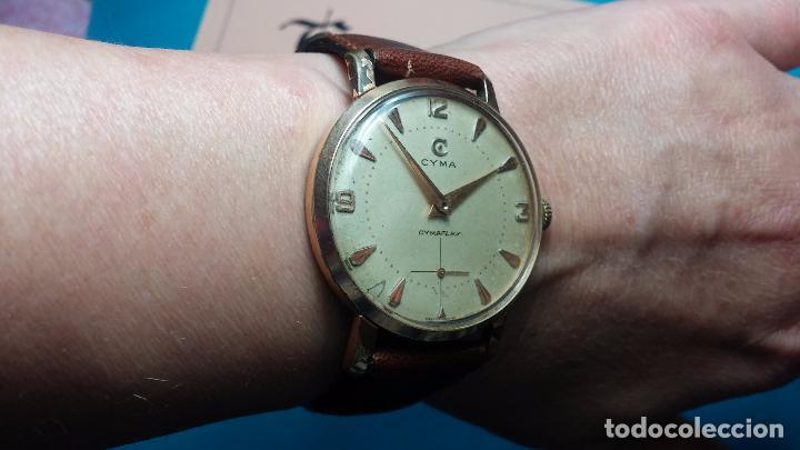 Relojes de pulsera: Botito reloj de cuerda Cyma, antiquisimo, de hombre, funcionando, grande, hermoso, lindo, chapado - Foto 9 - 68612953