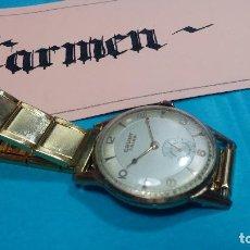 Relojes de pulsera: BOTITO RELOJ DE CUERDA CAUNY PRIMA UT176, ANTIQUÍSIMO, DE HOMBRE, FUNCIONANDO, GRANDE, CHAPADO. Lote 70250565