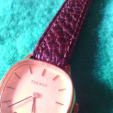 Relojes de pulsera: RELOJ TISSOT DE SEÑORA , AÑOS 60, CHAPADO ORO DE CUERDA CORREA PIEL.. Lote 78439597