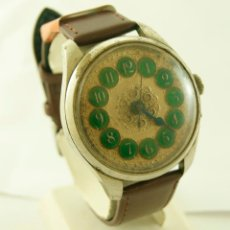 Relojes de pulsera: RARO Y ENORME RELOJ DE PULSERA MECANICO ANTIGUO 45MM . Lote 81842136