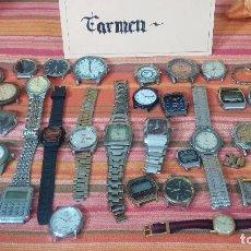 Relojes de pulsera: BOTITO LOTE DE 35 RELOJES VARIADOS, PARA REPARAR O PARA PIEZAS, ALGUNO FUNCIONA . Lote 83580136