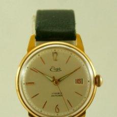 Relojes de pulsera: ELGE MECANICO CON PEGATINAS RELOJ FUNCIONANDO SIN USO ANTIGUO STOCK VINTAGE TOTAL. Lote 86107112