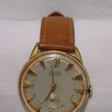 Relojes de pulsera: ANTIGUO RELOJ SUIZO FLICA ANCRE 15 RUBÍS-CHAPADO ORO-DIAL CON ROMBOS EN RELIEVE Y GRANDES ÍNDICES. Lote 87680768