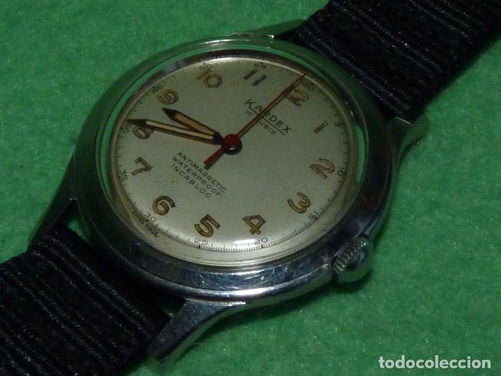 PRECIOSO RELOJ KARDEX TIPO MILITAR AÑOS 50 CALIBRE ETA 2370 SWISS MADE 17 RUBIS CAJA ACERO BAUHAUS (Relojes - Pulsera Carga Manual)