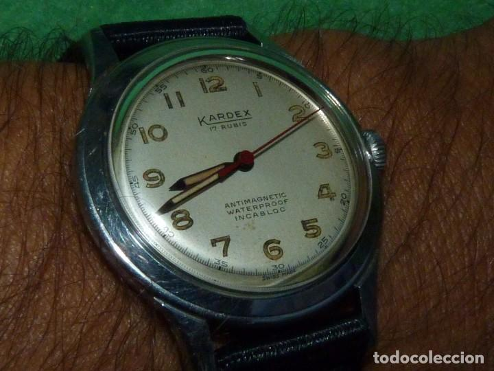 Relojes de pulsera: Precioso reloj KARDEX tipo militar años 50 calibre ETA 2370 swiss made 17 rubis caja acero BAUHAUS - Foto 10 - 96545343
