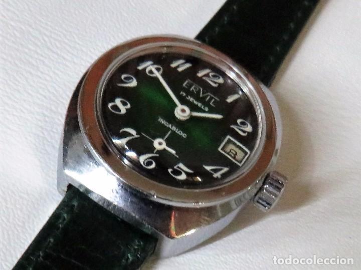 Relojes de pulsera: ERVIL SUIZO DE CUERDA MANUAL AÑOS 70 - Foto 8 - 98170855