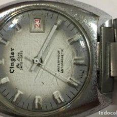 Relojes de pulsera: RELOJ CINGLER DE LUXE DATO-DATE ANTIGUO EN ACERO COMPLETO . Lote 98657903
