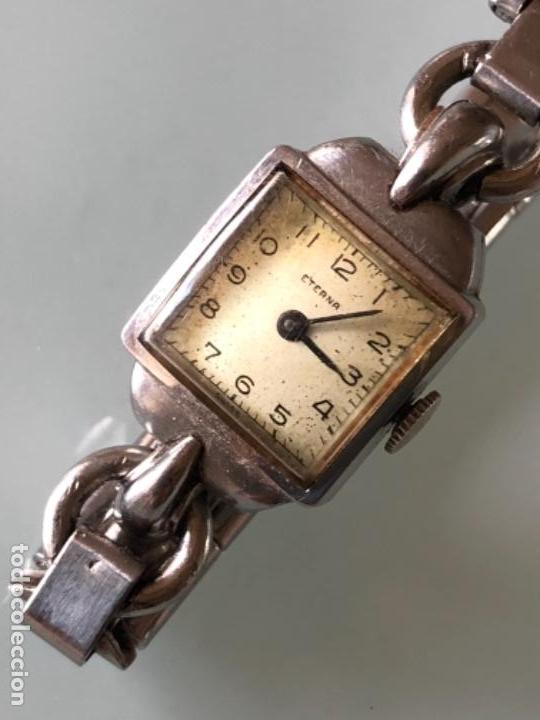 RELOJ MUJER ETERNA ESTILO DECO SWISS MADE CAJA Y ARMIS ACERO AÑOS 30 FUNCIONA PERFECTAMENTE (Relojes - Pulsera Carga Manual)