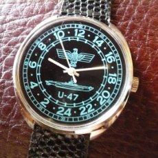 Relojes de pulsera: SERIE MARINA ALEMANA II GUERRA MUNDIAL - SUBMARINO U-47- 24 HORAS DE MARCACION -ORIGINAL-. Lote 184864022
