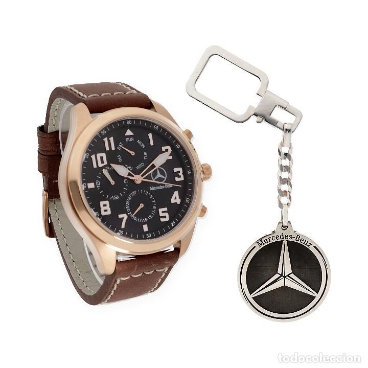 a7a2b177fbf4 Reloj caballero S S para Mercedes y Llavero de plata con motivo de la marca