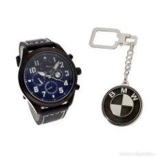 Relojes de pulsera: RELOJ CABALLERO S&S PARA BMW Y LLAVERO DE PLATA CON MOTIVO DE LA MARCA. Lote 110614859