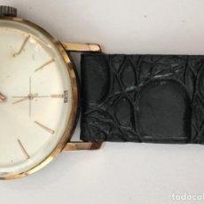 Relojes de pulsera: RELOJ TECHNOS EN CAJA CHAPADA 10 MICRAS DE ORO Y CORREA NUEVA DE PIEL EN FUNCIONAMIENTO . Lote 112951287