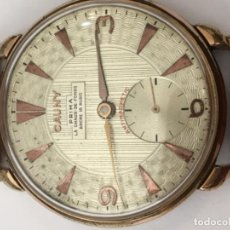 Relojes de pulsera: RELOJ CAUNY PRIMA CARGA MANUAL CAJA CHAPADA ORO PARA COLECCIONISTAS 39MM DE ESFERA EN FUNCIONAMIENTO. Lote 113223711