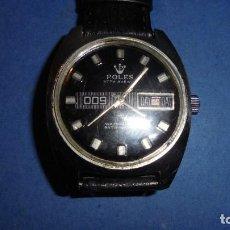 Relojes de pulsera: ANTIGUO RELOJ MARCA POLES 009 WATERPROOF ANTIMAGNETIC CALENDARIO - ACERO , ESFERA NEGRA . Lote 113505599