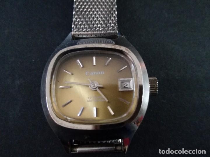 Relojes de pulsera: Antiguo reloj de pulsera de mujer marca canon a cuerda y calendario perpetuo. Vintage - Foto 2 - 114742695
