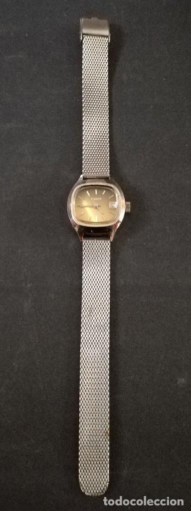 Relojes de pulsera: Antiguo reloj de pulsera de mujer marca canon a cuerda y calendario perpetuo. Vintage - Foto 3 - 114742695