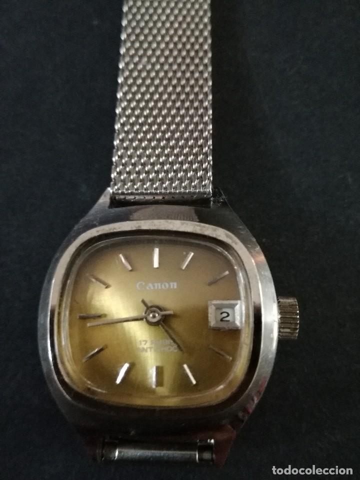 Relojes de pulsera: Antiguo reloj de pulsera de mujer marca canon a cuerda y calendario perpetuo. Vintage - Foto 4 - 114742695
