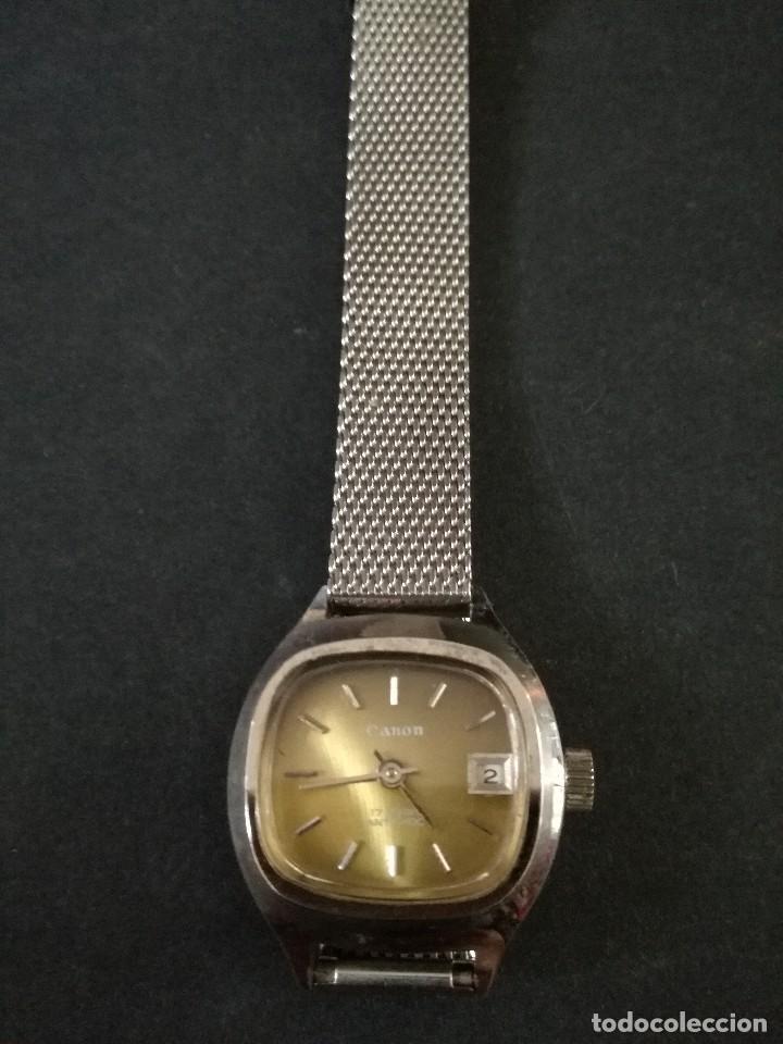 Relojes de pulsera: Antiguo reloj de pulsera de mujer marca canon a cuerda y calendario perpetuo. Vintage - Foto 5 - 114742695