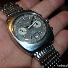 Relojes de pulsera: FANTASTICO RELOJ CRONOMETRO VALJOUX 7734 ROYMAT SWISS MADE CRONO ACERO 17 RUBIS MILANESA. Lote 114833495